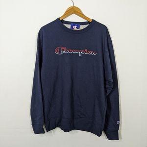 Champion Powerblend Logo Crew Sweatshirt Navy NWT